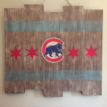 Chicago Cubs Large Wooden Stained Flag; Handpainted; Baseball Decor; Mancave; Wrigley Field; Wood Sign; Wall Art; Cubbies; World Series MLB