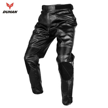 DUHAN Motorcycle Motorcross Riding Protective Trousers Waterproof Windproof Men's PU Imitation Leather Racing Sports Pants