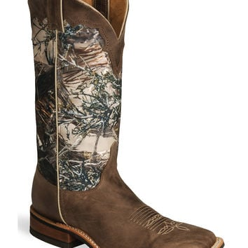 Justin Bent Rail Camo Cowboy Boots - Square Toe - Sheplers