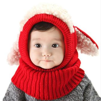 Christmas Baby Hats With Ears Newborn Toddler Beanie Knitted Caps Hooded Scarf Earflap Cap Warm Shawl Kids Girls Boys Hat Scarf