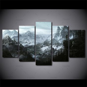Canvas Wall Art Pictures Frame Kitchen Restaurant Decor 5 Pieces Elder Scrolls V Skyrim Classic Game Living Room HD Print Poster