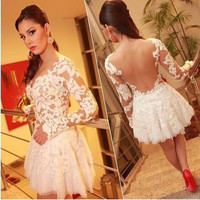 white prom lace patchwork mini dress [7655751942]