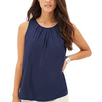 LOVE 21 Chain-Trim Pleated Top