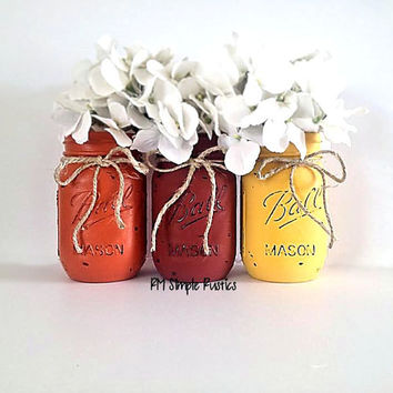 Painted mason jar thanksgiving decor, thanksgiving centerpiece, fall decor, holiday decor, halloween decor, housewares, home decor