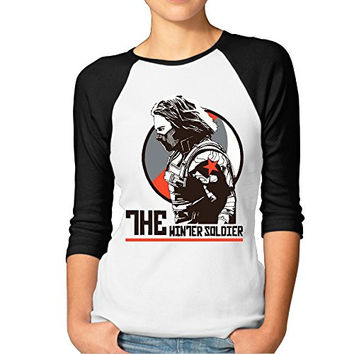 AYASHOP Women's Bucky Barnes The Winter Soldier 3/4 Sleeve 100% Cotton Baseball Tee/T Shirts