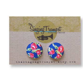 Blue Floral Stud Earrings. Pink Flower Pattern Stud Earrings. Cobalt blue Rose Print Post Earrings. 18mm Button Earrings. Round Fabric Studs