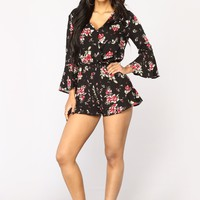Sun Comes Out Floral Romper - Black