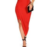 Red Asymmetrical Skirt