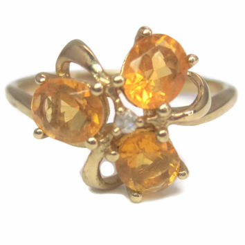 Dainty Vintage 10K .75 Ctw Citrine Clover Ring Size 6