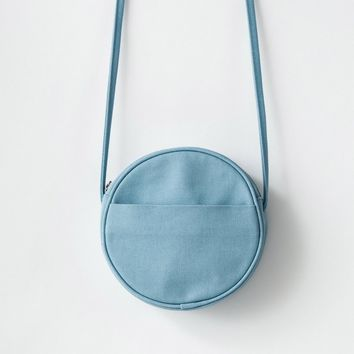BAGGU Small Canvas Circle Purse Washed Blue