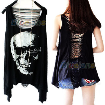Fashion Tassel Back SKULL PUNK Singlet Tank Top long Tee Shirt