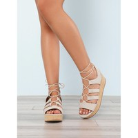 Lace Up Strappy Wedge Sandal SAND