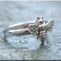 Bumble Bee stacking ring Sterling Silver Bee ring Insect jewelry Stacking Jewelry Bee jewelry Spring Jewelry Sterling Silver Ring Bee Ring