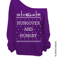 Hungover and Hungry - Ugly Christmas and Thanksgiving Sweater - Purple - Slouchy Oversized Sweatshirt