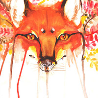 Fall Autumn Fox Painting