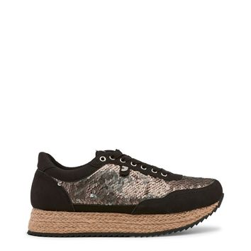 Gioseppo Black Sequin Wedge Sneakers