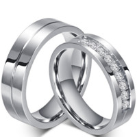 2015 New CZ Wedding Rings for Women Men Platinum Plated Couple Engagement Ring Jewelry