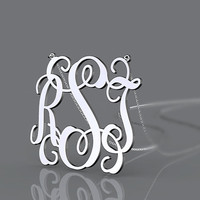RSJ monogram necklace jewelry 925 sterling silver 3 initial nameplate necklace