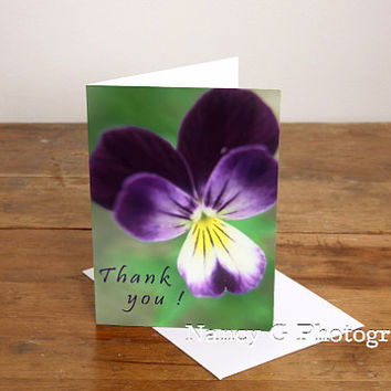 "Greeting Card, Blank Card, Stationary, Thank You, Violet, Floral Card, Flower Card, 5""x7"", Card, Greeting Cards, Paper Goods, Nancy G"