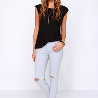 Glamorous Pants De Leon Distressed Light Grey Skinny Jeans