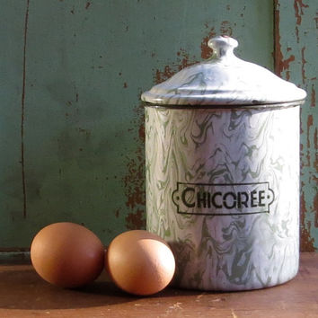 Vintage French Enamel Chicoree Canister, Green Enamelware Graniteware, Chicory Dry Goods, Paris Flea Market, Cottage Farmhouse Kitchen Decor