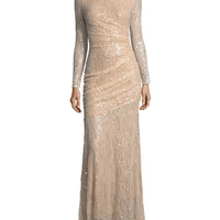 Carmen Marc Valvo Long-Sleeve Lace Sequin Evening Gown