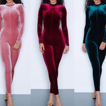 2017 New fashion high quality bodycon rompers full sleeve long rompers sexy backless club wear 8952