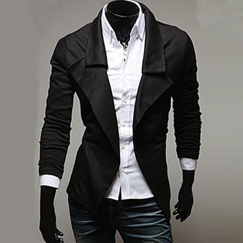 New Draped Design Men's Open Cardigan