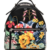 Black Floral Mini Backpack
