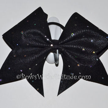 "3"" Wide Luxury Cheer Bow - Black w/Silver Sparkles"