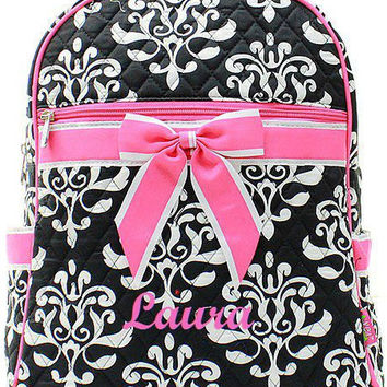 Black and Pink Bloom Monogrammed Backpack  Monogram Quilted Backpack  Personalized Backpack