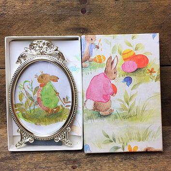 Watercolor Bunny Miniature in Silver Frame in Gift Box