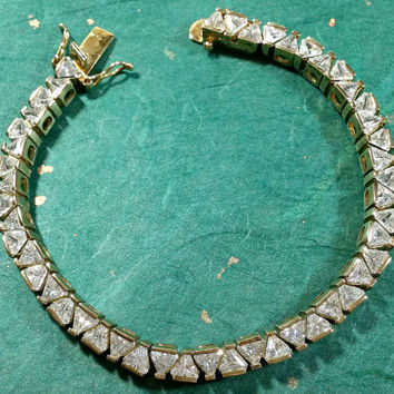 Vintage Gold Tennis Bracelet Trillion Cut Brilliantly Sparkling Clear Stones Gold Vermeil Over Sterling Silver Truly Outstanding Well-Made