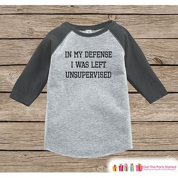 4fe36423 Funny Kids Shirt - Left Unsupervised - Boy or Girl Onepiece or T