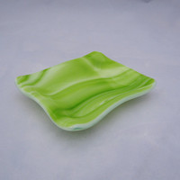 Green Swirl Fused Glass Trinket Dish - Tea Bag Rest - Tea Bag Holder - Decorative Plate - Spoon Rest - Sauce Dish