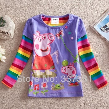 Peppa Pig Long Sleeve O-neck Emboridey T-Shirts for Girls = 1930039940