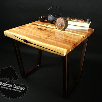 Live Edge Coffee Table Wood Resin - unique - rare plum wood - metal legs - great to living room - small table - eco friendly