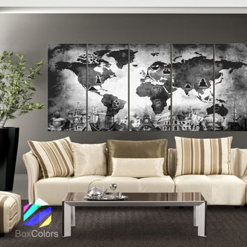 "XLARGE 30""x 70"" 5 Panels Art Canvas Print Original Wonders of the world Old Map Black & White Wall decor Home interior (framed 1.5"" depth)"