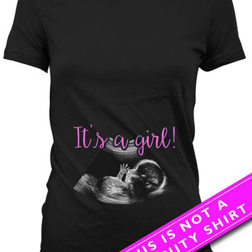 Pregnancy Announcement T Shirt Baby Announcement Pregnancy Reveal It's A Girl Baby Girl Gifts New Baby Shirt Mommy To Be Ladies Tee MAT-623