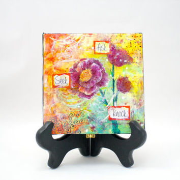 Abstract Flower Painting for Desk with Easel Inspirational Ask Seek Knock Yellow Orange Rose
