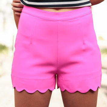 Think Hot Pink Scalloped Shorts