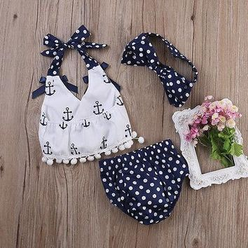 3 pcs Baby Girls Outfit Print Anchors Polka Dot Set