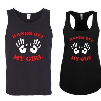 Hands Off my GUY - Hands Off my GIRL Couple Tank Tops + Your NAMES on the back or another text