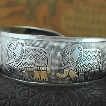 Bohemian Antalya bangle,antique Silver plated carve pattern Statement, Boho Coachella, Festival Turkish hand Jewelry, elephant