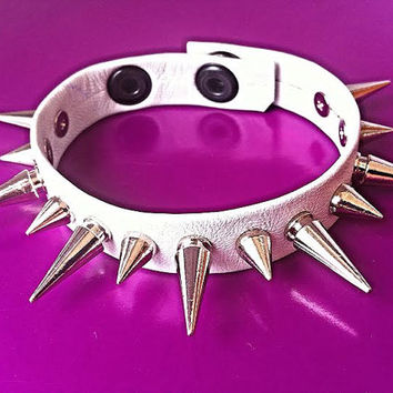Genuine Leather Strap Style Super Soft Spiked White Bracelet with X-Large & Small Spikes