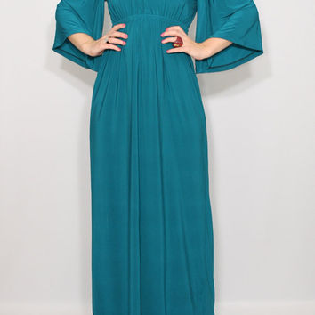 Maxi dress Teal dress Empire waist dress Kimono dress Women Long dress