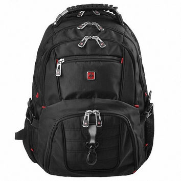 "Famous Brand Swiss Men's Backpack military 15.6"" laptop bag men travel school bags for boys 04"