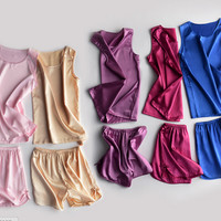 Female summer clothes at home pajamas home ice silk pajama shorts and short-sleeved solid color sexy vest