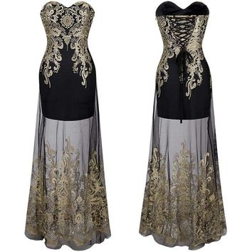 Evening dress : Lace Overlay Evening Dress
