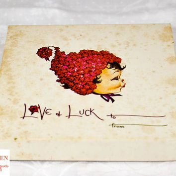 Vintage Valentine Ephemera - Love and Luck Card Set
